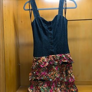 Dress with floral ruffle bottom